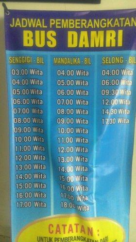 Jadwal Bis Damri Bandara Lombok | Credit: @infolombok